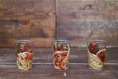 Spaghetti with meat stewed in tomato sauce Royalty Free Stock Photography