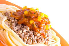 Spaghetti with meat and tomato Royalty Free Stock Image