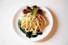 Spaghetti with meat and vegetables Royalty Free Stock Image