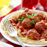 Spaghetti and meatball dinner Stock Photos
