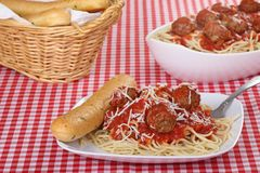 Spaghetti and Meatball Dinner Stock Photography