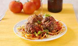 Spaghetti and meatball dinner Stock Images