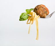 Spaghetti with meatball on a fork Stock Image