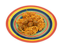 Spaghetti and meatball meal on colorful plate. Stock Photography