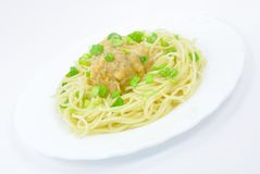 Spaghetti with Meatball and Spring Onions. Spaghetti with Chicken Meatball and Spring Onions on White Plate Isolated Royalty Free Stock Photo