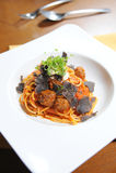 Spaghetti meatball tomato sauce Stock Images