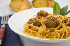 Spaghetti and meatballs. Bowl of spaghetti and meatballs Stock Photo