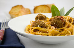Spaghetti and meatballs. Bowl of spaghetti and meatballs Royalty Free Stock Images