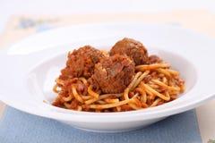 Spaghetti Meatballs. On a plate stock image