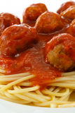 Spaghetti and Meatballs. Close up of Spaghetti and Meatballs in a bolognese sauce a western adaptation from traditional italian cooking Stock Photo