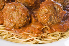 Spaghetti and Meatballs Stock Images