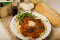 Spaghetti and meatballs. Stock Photos