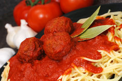 Spaghetti and Meatballs Closeup Stock Photo