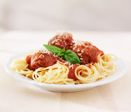 Spaghetti and meatballs on empty table Royalty Free Stock Images