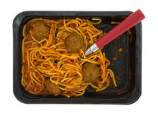 Spaghetti Meatballs With Fork In Tray Stock Images