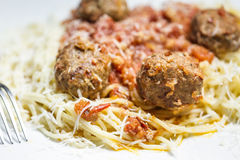 Spaghetti and Meatballs on light background Royalty Free Stock Image