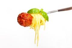 Spaghetti with Meatballs Stock Photos
