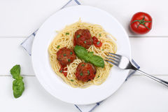 Spaghetti with meatballs noodles pasta meal from above Royalty Free Stock Image