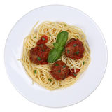 Spaghetti with meatballs noodles pasta meal isolated Stock Image