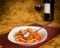 Spaghetti and meatballs with red wine Stock Photo