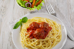 Spaghetti with meatballs sauce Stock Photography