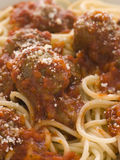 Spaghetti Meatballs sprinkled with Parmesan Cheese Royalty Free Stock Image