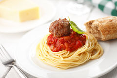 Spaghetti with meatballs in tomato marinara sauce Royalty Free Stock Image