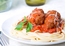 Spaghetti and Meatballs. In a tomato sauce stock photography