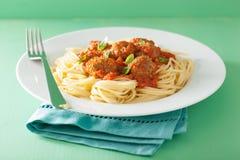 Spaghetti with meatballs in tomato sauce Royalty Free Stock Photos