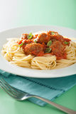 Spaghetti with meatballs in tomato sauce Royalty Free Stock Images
