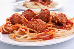 Spaghetti with meatballs in tomato sauce Stock Images