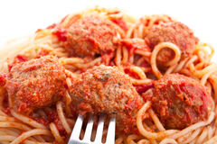 Spaghetti with meatballs in tomato sauce Royalty Free Stock Image