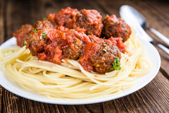Spaghetti with Meatballs. (and Tomato Sauce) as close-up shot (selective focus stock photo