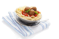 Spaghetti with meatballs. Royalty Free Stock Photo