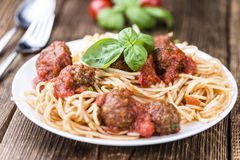 Spaghetti with Meatballs and Tomato Sauce Stock Image