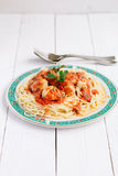 Spaghetti with meatballs and tomato sauce. Homemade pasta for my family Royalty Free Stock Photos