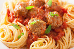 Spaghetti with meatballs in tomato sauce Stock Photo