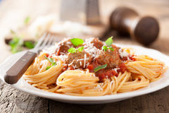 Spaghetti with meatballs in tomato sauce Stock Photography