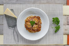 Spaghetti with Meatballs and tomato sauce and Parmesan cheese Stock Photography