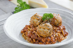 Spaghetti with Meatballs and tomato sauce and Parmesan cheese Royalty Free Stock Photos
