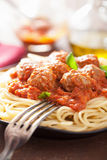 Spaghetti with meatballs in tomato sauce Royalty Free Stock Photo