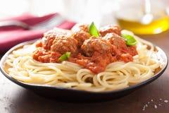 Spaghetti with meatballs in tomato sauce Stock Image