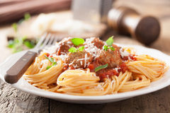 Spaghetti with meatballs in tomato sauce Stock Image