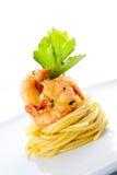 Spaghetti met garnalen en courgette Stock Foto