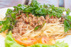 Spaghetti met Kruidige Varkensvlees Gemengde kruiden Royalty-vrije Stock Foto's