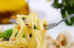 Spaghetti met mosselen in kommen Royalty-vrije Stock Afbeelding
