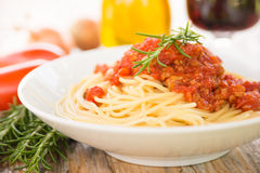 Spaghetti met ragoût Stock Afbeelding