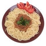 Spaghetti met rundvlees en tomatenragu Stock Foto's