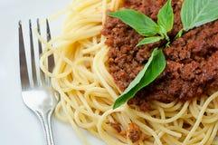 Spaghetti met rundvlees romige saus Stock Foto's
