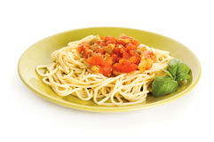 Spaghetti met saus Royalty-vrije Stock Foto's